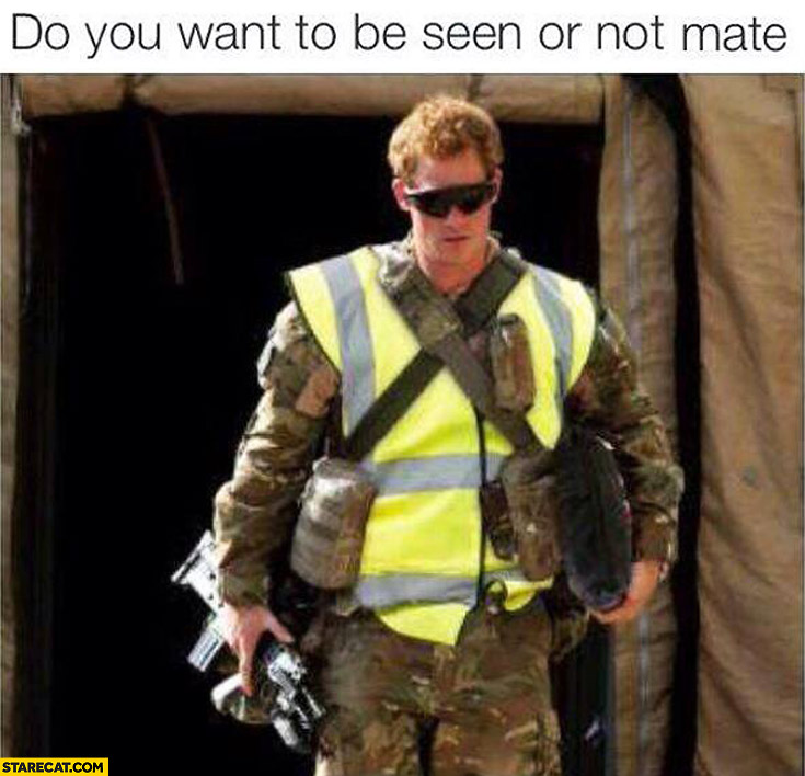 Do you want to be seen or not mate? camouflage safety vest
