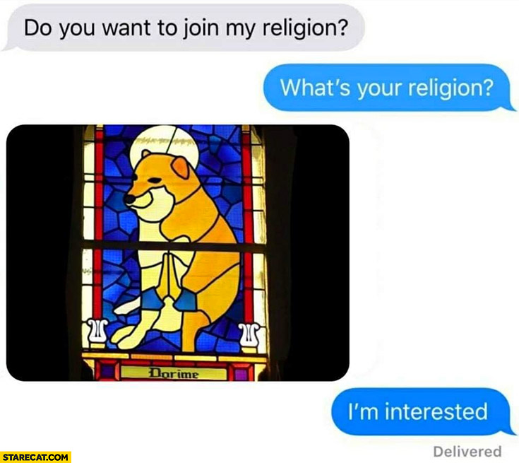 Do you want to join my religion? What's your religion? Dorime doge, I'm interested
