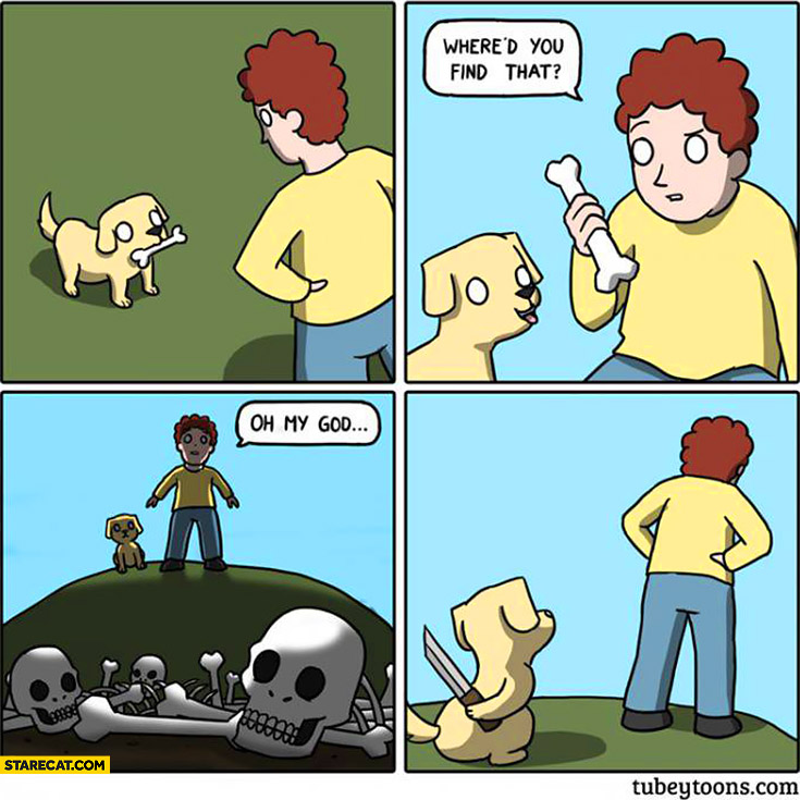Dog bone – where had you find that? Graveyard dog killer comic