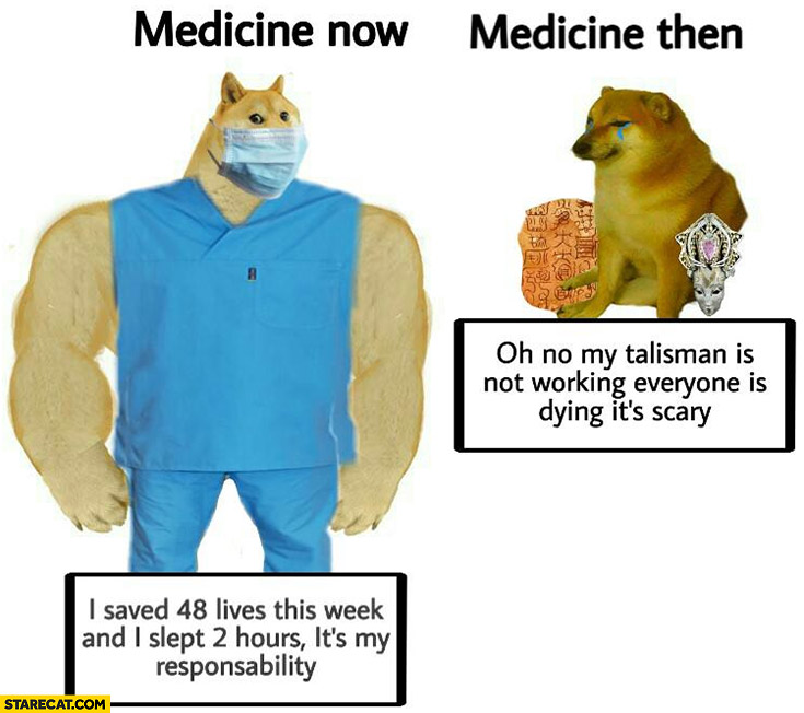 Dog doge medicine: now I saved 48 lives this week and sleept 2 hours, medicine then: oh no my talisman is not woking everyone is dying it's scary