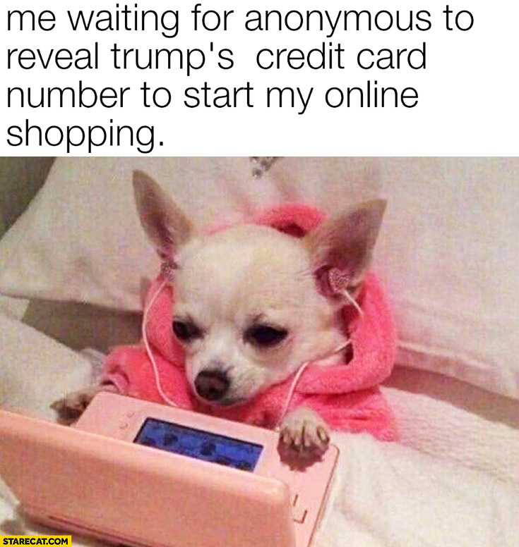 Dog me waiting for anonymous to reveal Trump's credit card number to start my online shopping