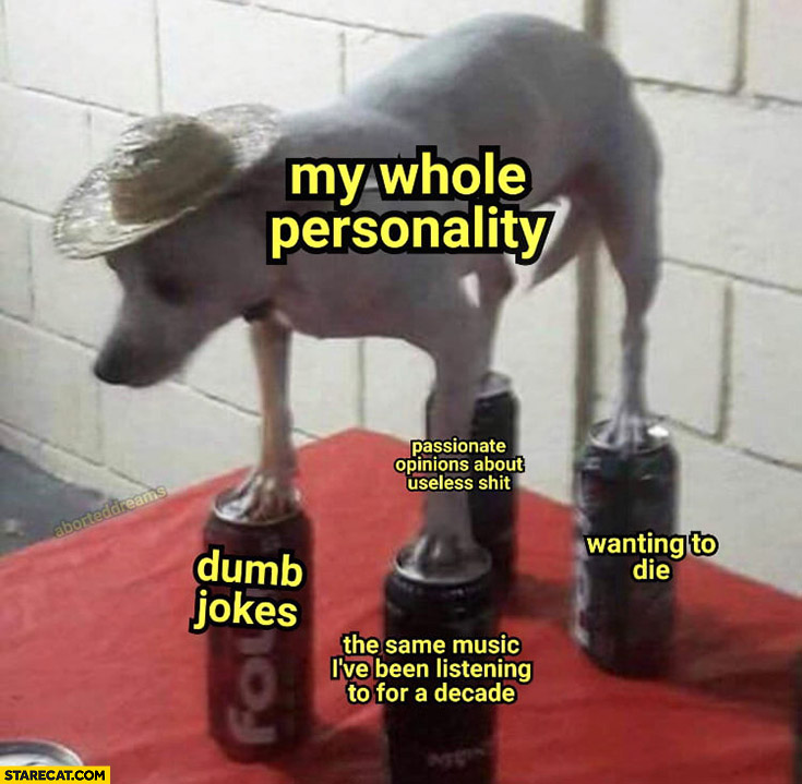 Dog standing on cans my whole personality: dumb jokes, wanting to die, same music, passionate opinions about useless shit