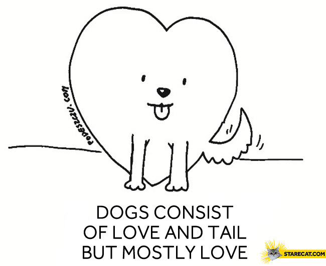 Dogs consist of love and tail but mostly love
