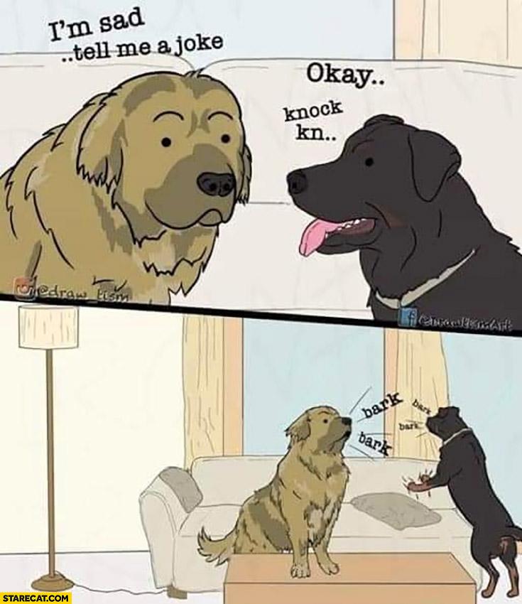 Dogs I'm sad, tell me a joke, okay: knock knock, they start to bark