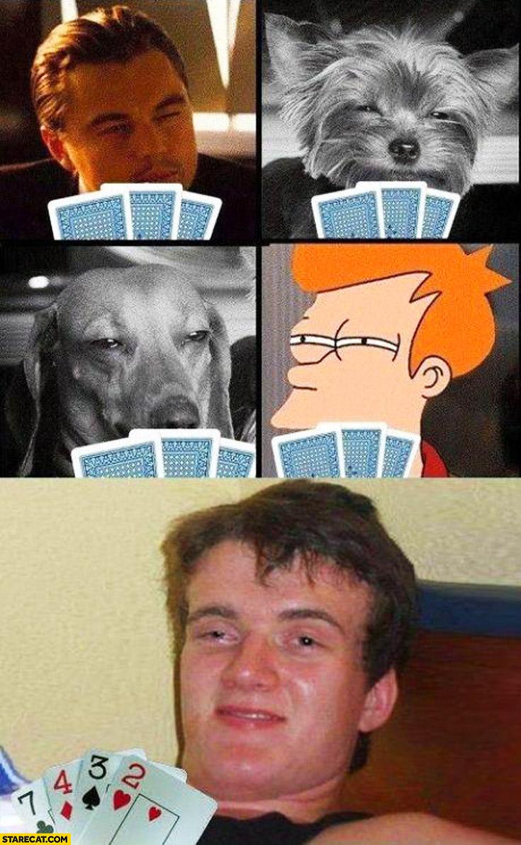 Dogs Leonardo DiCaprio drunk high guy playing poker