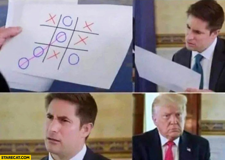 Donald Trump playing tic tac toe fail