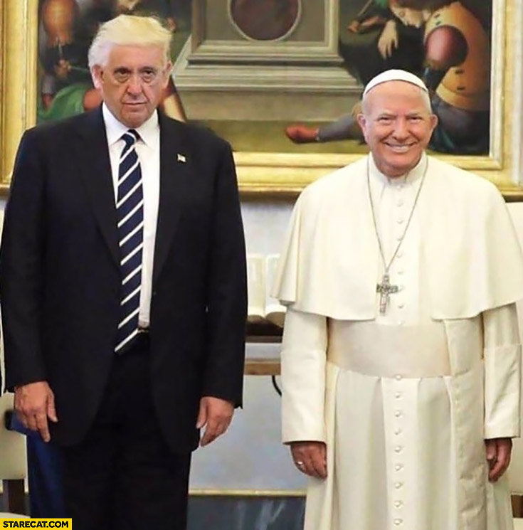 Donald Trump Pope Francis face swap photoshopped