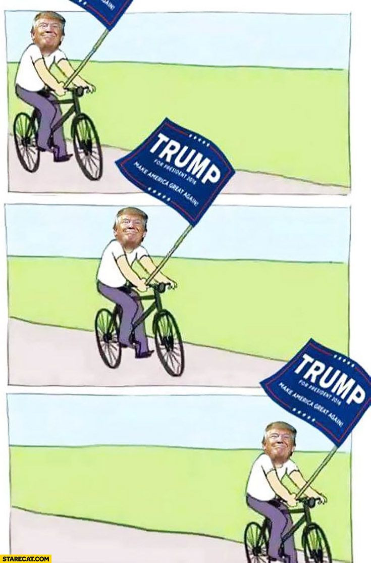 Donald Trump riding a bicycle meme