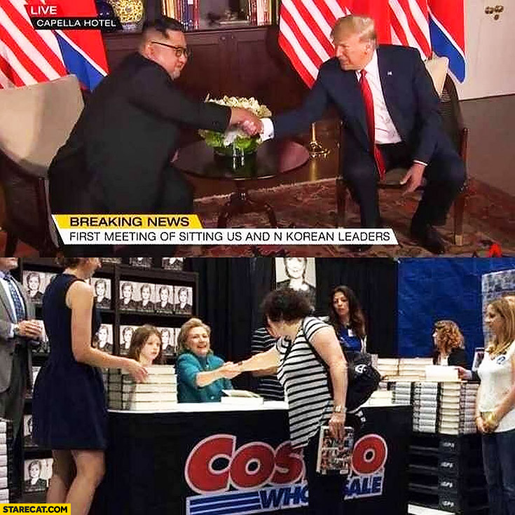 Donald Trump shaking hands with Kim Jong Un while Hillary Clinton shaking hands with her books readers
