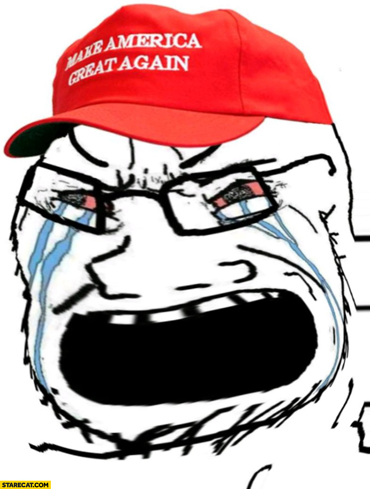 Donald Trump supporter meme crying yelling