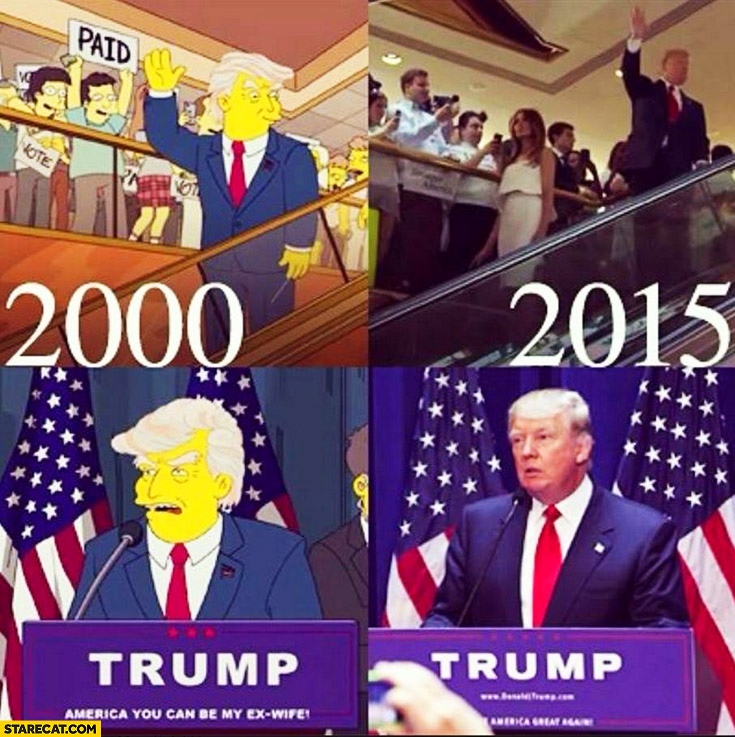 Donald Trump The Simpsons 2000 2015 comparison president campaign candidate