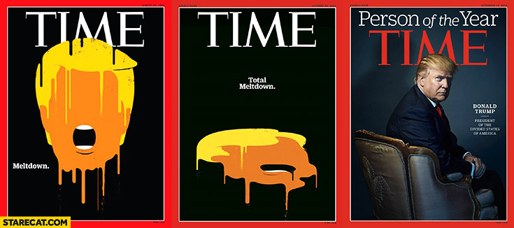 Donald Trump Time magazine: meltdown, total meltdown, person of the year