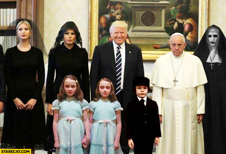 Donald Trump visiting Pope Francis photoshopped horror scene