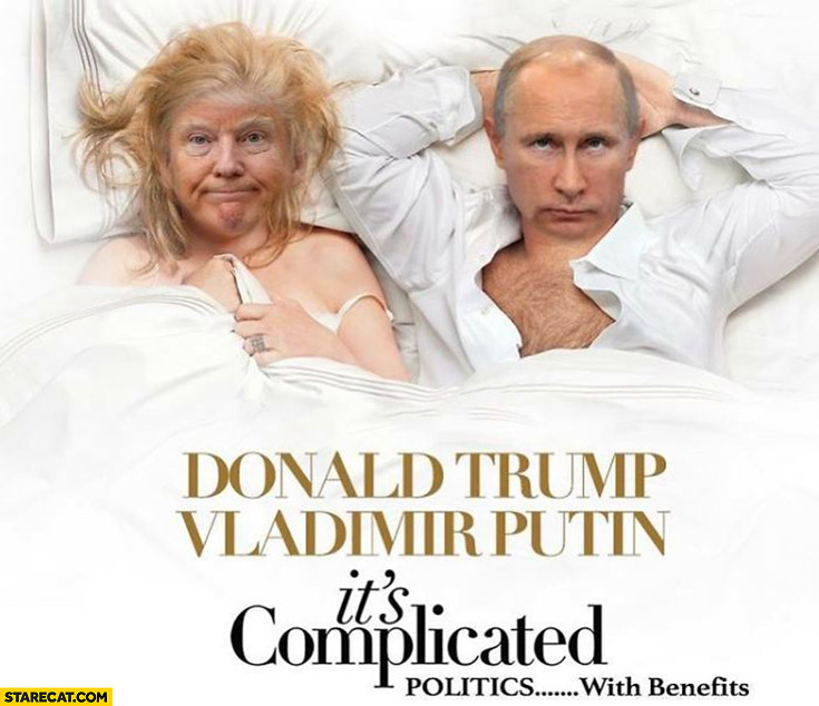 Donald Trump Vladimir Putin it's complicated movie poster politics with benefits