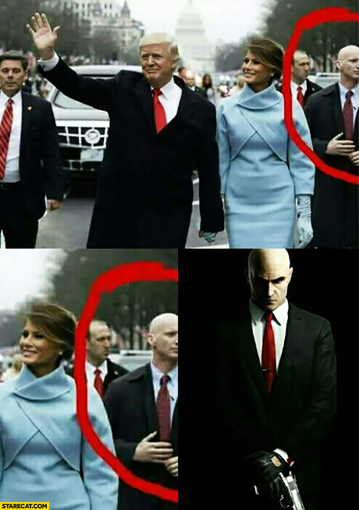 Donald Trump's bodyguard looking like Hitman