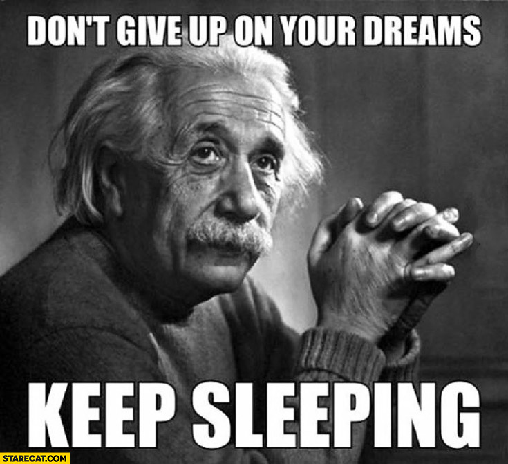 Don't give up on your dreams keep sleeping Einstein