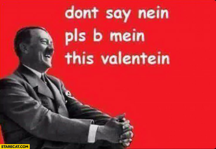 Don't say nein please, be mein this Valentein hitler Valentine's card