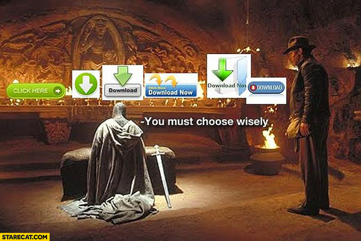 Download buttons you must choose wisely Indiana Jones