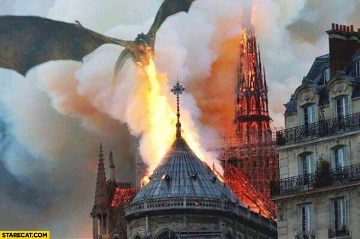 Dragon spitting fire above Notre Dame cathedral photoshopped meme