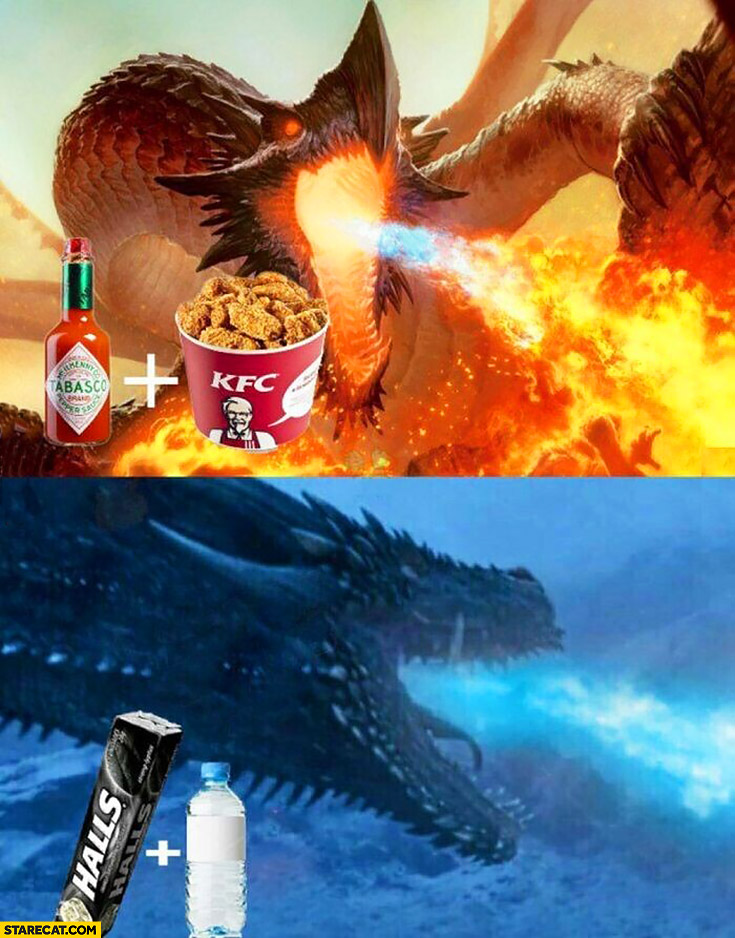 Dragons breath after KFC with tabasco vs Halls with mineral water