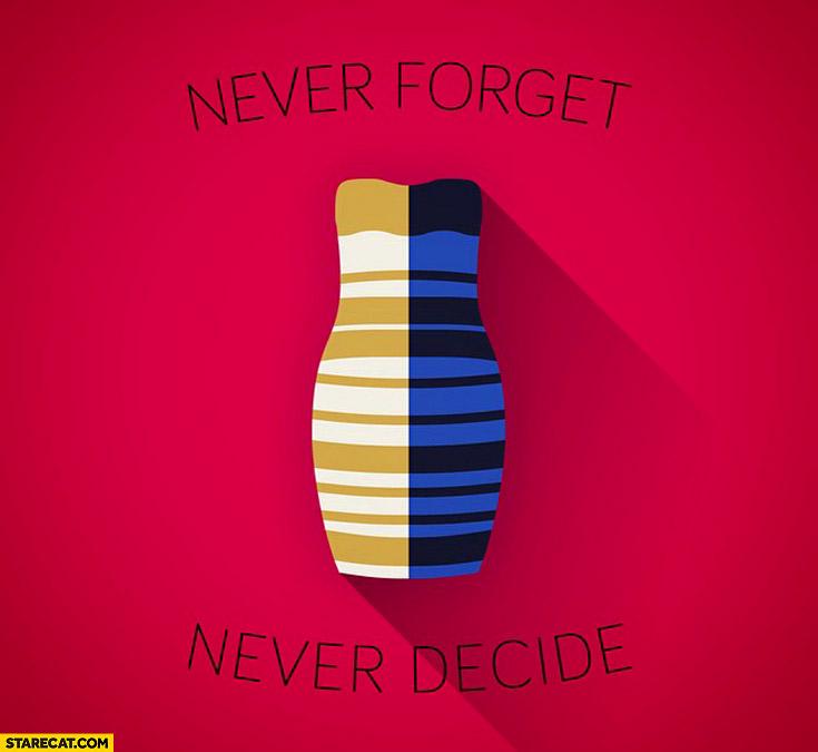 Dressgate never forget never decide white gold blue black