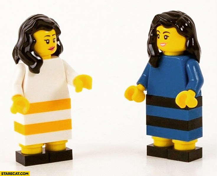 Dressgate the dress Lego white gold blue black