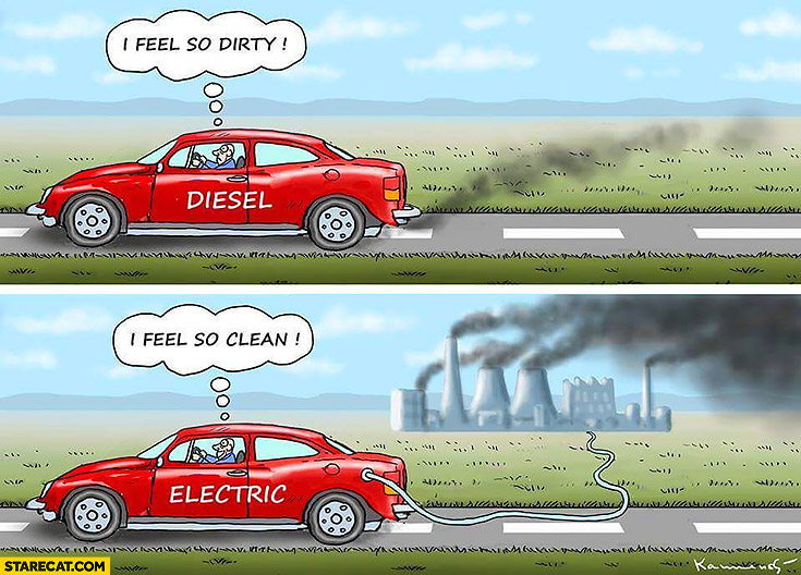 Driving diesel car I feel so dirty, driving electric car I feel so clean comparison