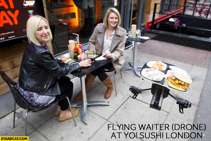 Drone waiter YO! Sushi London