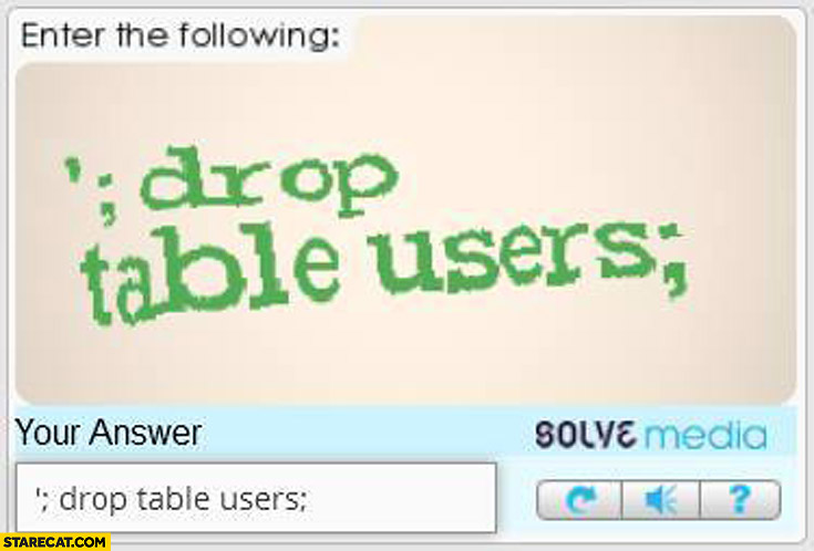 Drop table users captcha