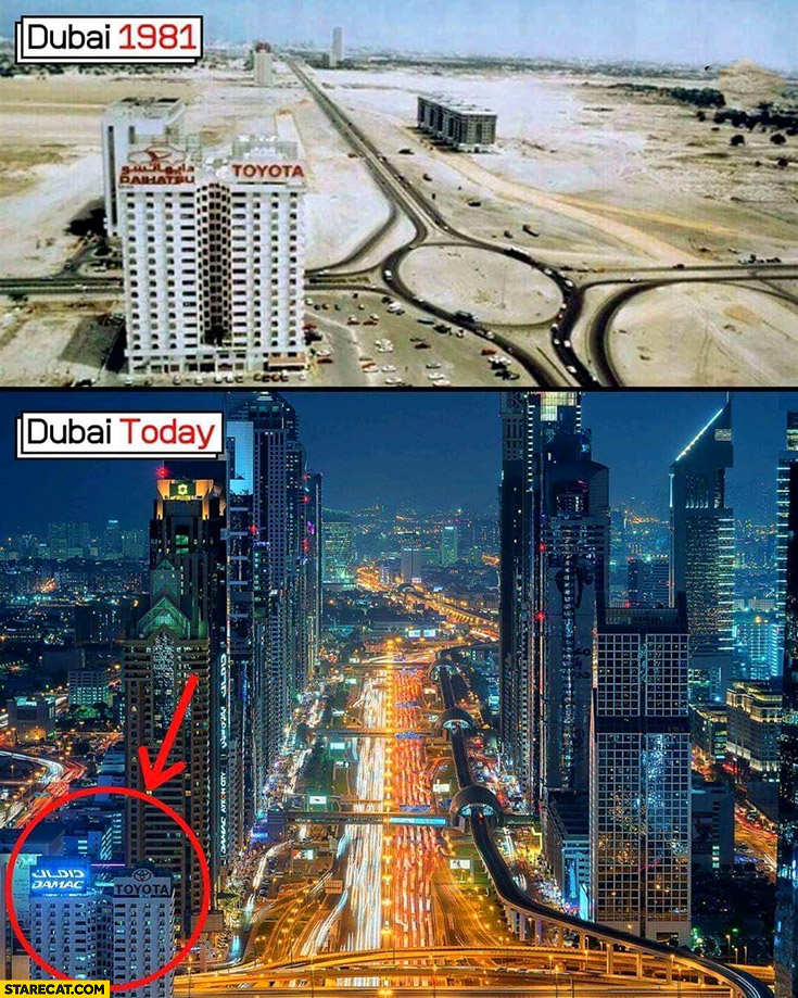 Dubai 1981 vs today comparison Toyota building as reference