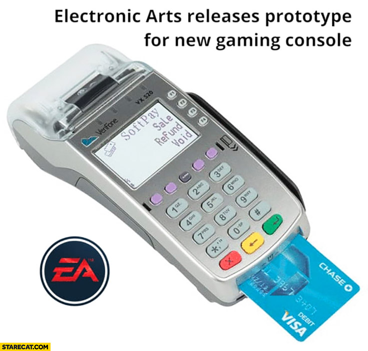 EA Electronic Arts releases prototype for new gaming console credit card reader payment system