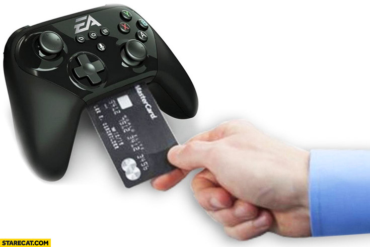 EA gamepad game controller with credit card reader payment system built in Electronic Arts