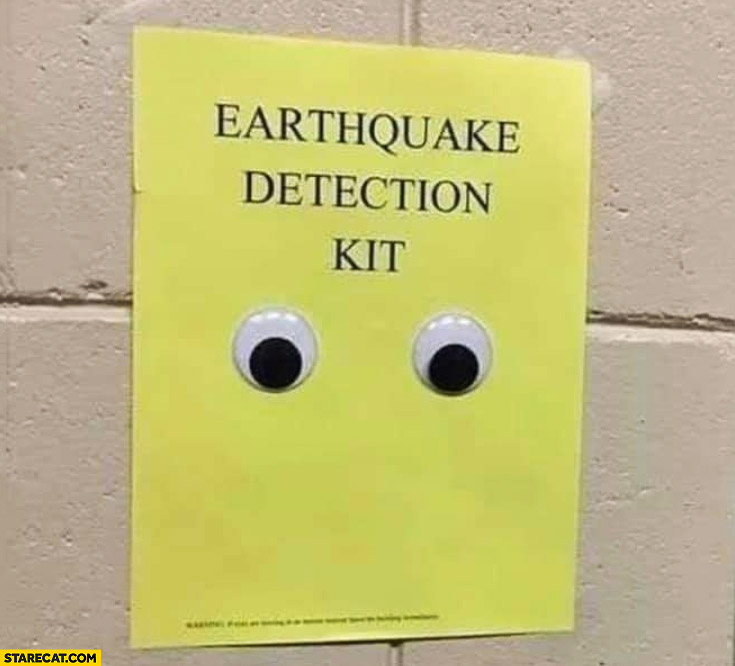 Earthquake detection kit rolling eyes stickers