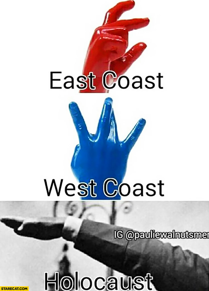 East coast, west coast, holocaust. Hand gesture meme comparison