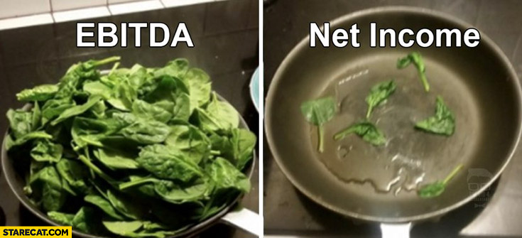 EBITDA vs net income comparison spinach stock market