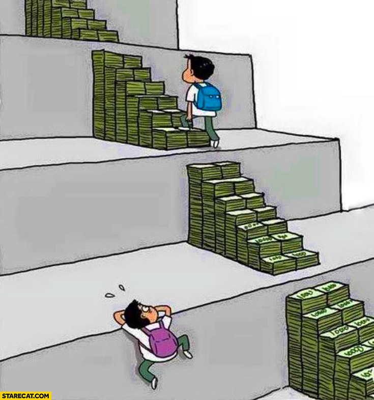 Education is easier when you have money steps made of cash