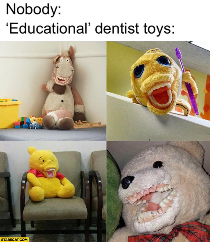 Educational dentist toys with teeth creepy