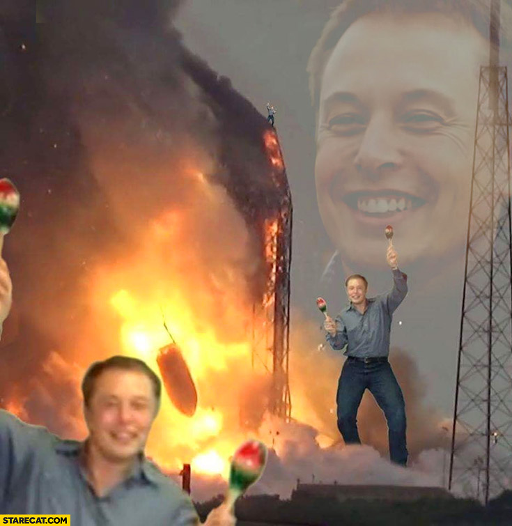 Elon Musk celebrating SpaceX rocket on fire explosion