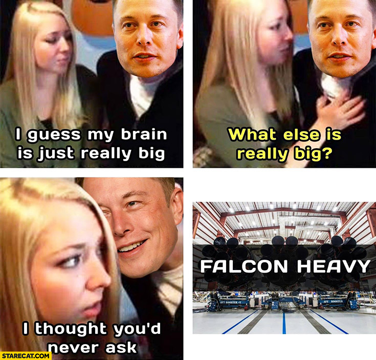 Elon Musk I guess my brain is just really big, what else is really big? I thought you'd never ask falcon heavy
