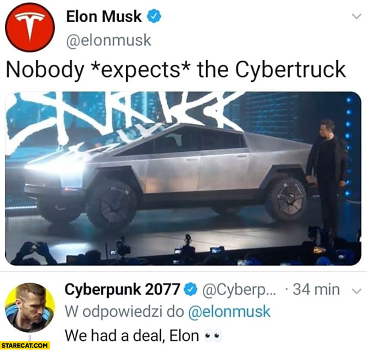 Elon Musk reveals Cybertruck Cyberpunk 2077 we had a deal Elon