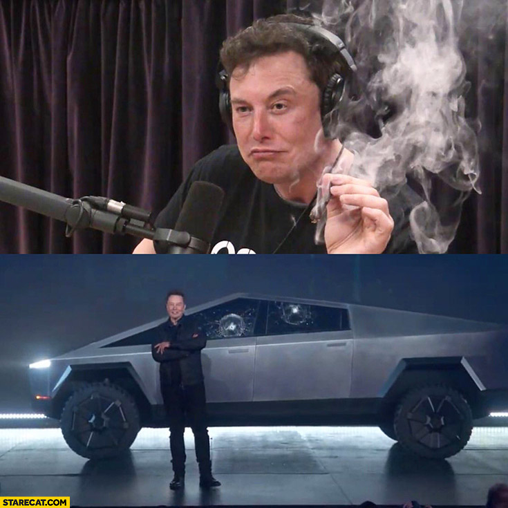 Elon Musk smoking weed comes up with Tesla Cybertruck
