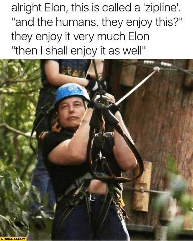 Elon Musk this is called a zipline. And the humans enjoy this? Then I shall enjoy it as well