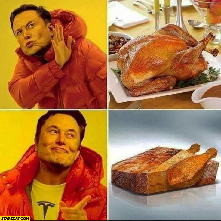 Elon Musk turkey no prefers Cybertruck shaped turkey