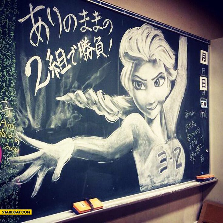 Elsa chalk on blackboard