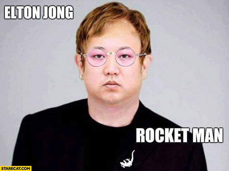 Elton John rocket man Kim Jong Un photoshopped