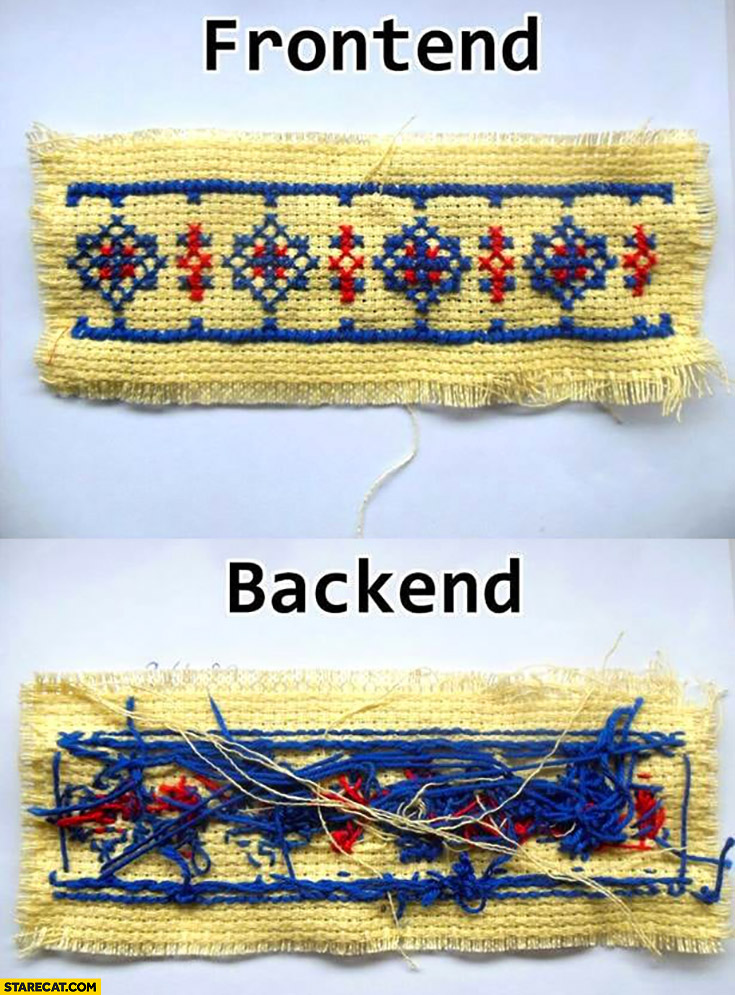 Embroidering frontend vs backend programming comparison
