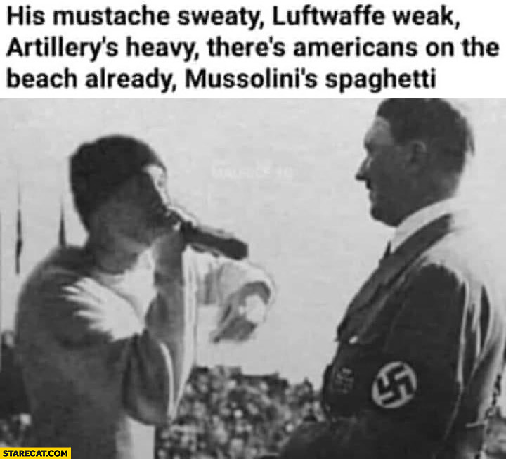 Eminem hitler rap battle photoshopped mustache sweaty, Luftwaffe weak, Mussolini's spaghetti