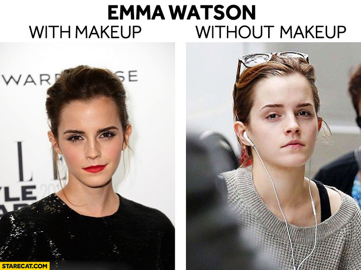 Emma Watson with makeup without makeup
