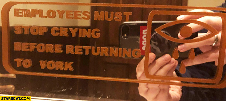 Employees must stop crying before returning to work toilet sticker