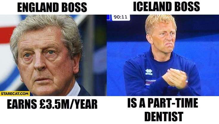 England boss Roy Hodgson earns 35m pounds a year, Iceland boss is a part-time dentist